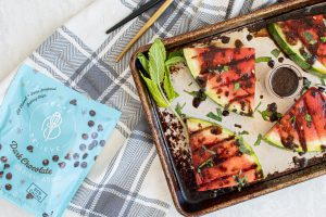 Grilled Watermelon with Chocolate Balsamic Sauce