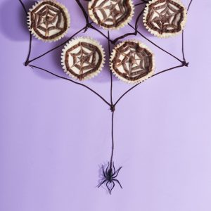 Spiderweb Mini Cheesecakes