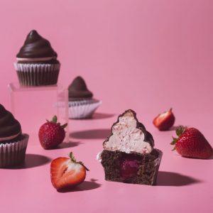 Dark Chocolate-Strawberry Hi-Hat Cupcakes